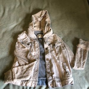 Light wash jean jacket with hood